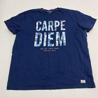 Octave Jeans Graphic Tee Men's Size 4XL XXXXL Short Sleeve Navy Carpe Diem Shirt