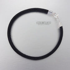 """8.5"""" Sterling Silver 4mm Black Round Genuine Leather Cord Bangle Lobster Clasp"""