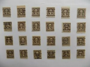 U S Coll'n of (24) 1932 1/2 cent Wash'n PRECANCEL DEFIN with diff. cities-9-23-M