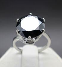 10.08cts 13.78mm Real Natural Black Diamond Ring AAA Grade & $5240 Value