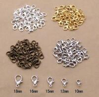 Wholesale 20/100Pcs Silver/Gold plated Lobster Clasps Hooks Findings,10/12mm