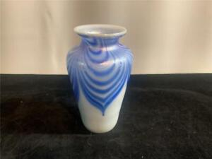 Ornamental Blown Glass Pulled Feather Vase Blue & White Iridized Carnival