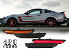 SMOKE Lens Front + Rear 4PCS LED Bumper Side Marker Lights 2010-14 Ford Mustang