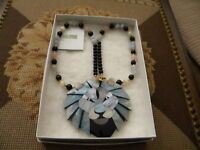Lee Sands Lions Head Pendant Necklace Mixed Inlaid Beads With Mother of Pearl