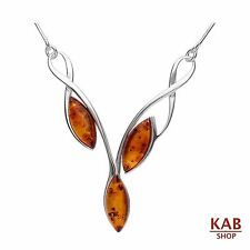 COGNAC BALTIC AMBER STERLING SILVER 925 JEWELLERY LUXURY NECKLACE, KAB-195