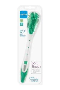 Baby Milk Bottle And Teat Brush Easy Soft Clean Mam Non-Scratch Bristles
