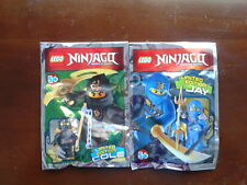 2 x LEGO Ninjago minifigures with weapons - COLE & JAY -New / Sealed packs