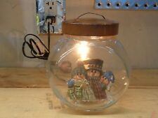 Country Primitive Snowmen in Glass Jar with Cover Electric Light Lamp
