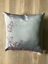 Anthropologie Pillow Embroidered Flower Floral Periwinkle Violet