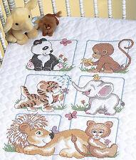 Cross Stitch Kit ~ Dimensions Cute Animal Babies Baby Crib Quilt #13083