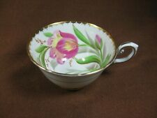 Tuscan Bone China Tulip Teacup Scalloped Gold Trim No Saucer Hand Painted Signed