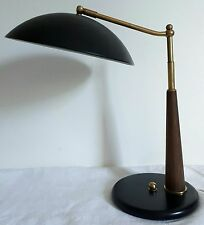 Lampe de bureau desklamp orientable laiton et teck 1950 / 1960 design