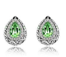 Pretty New 9K White Gold Filled Peridot Green CZ Artesian Post Stud Earrings