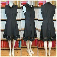 TARA JARMON Shirt Dress 38 UK 10 US 6 Black Fit Flare Skater Mesh Lace Cutout