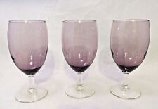 Amethyst Glass Water, Iced Tea, Wine Goblet Clear Stem Set of 3