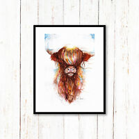 Highland Cow ,Sale,Original ,Watercolour ,Print ,Card, Gift, Wildlife,Animal,Art