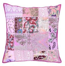 Pink Patchwork Embroidered Pillow Case Indian Home Sofa Cushion Cover Throw 24""