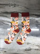 Light Pink Chinese Floral Design Socks - Medium - USA SHIPPING
