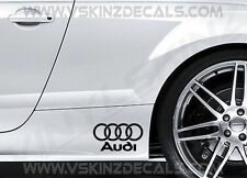 2x AUDI Logo Premium Cast Gonna Decalcomanie Adesivi S-LINE QUATTRO Q3 A3 A4 A5 A6 RS