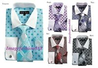 Men's Fashion Polka Dot  French cuff Dress shirt with Tie & Hanky  FL632
