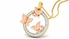 585 Estampé 14K Or 0,40 Carats Ronde Brillante Couper Naturel Diamants Pendentif