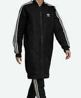 Women's adidas Originals Long Quilted Bomber Jacket black padded insulated UK 10