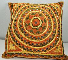 "Southwestern Aztec Throw Stuffed Pillow Rust Greens Yellows Fluffy 33"" Around"