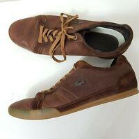 Lacoste LAMARCK Leather & Suede Dark Brown/Brown Trainers UK 8 EU 42