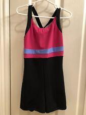 Girl's Jerry'S Figure Skating Short Jumpsuit Black/Pink/Blue - Size 10/12