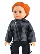 "Black Leather-like Jacket Fits American Girl or Boy 18"" Doll Clothes"