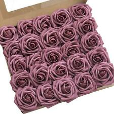 Ling's moment Roses Artificial Flowers 25pcs Realistic Mauve Roses with Stem for