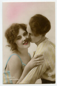 1920s French Glamour FLAPPER and FRIEND Romance pretty lady photo postcard