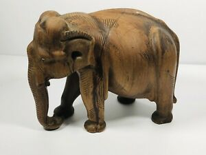 Antique Vintage Wooden Elephant Hand Carved Ornament Intricate Collectable Treen