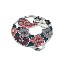 Fairy and Flowers Red/Mauve Scarf Ring from Sea Gems