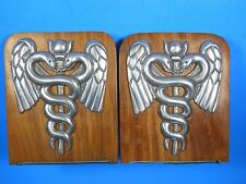wood pewter metal Bookends Physician Doctor Medical Caduceus 6.5""