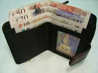 Soft Leather Purse Wallet with Three Section for Note Change,Cards RFID Protect