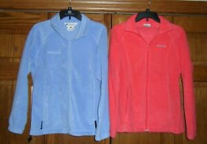 Lot of 2 - Ladies COLUMBIA Fleece Coat Jacket Periwinkle / Coral Size Small VGC