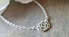 Silver crystal geometric necklace, fashion Oval Pendant silvertone dainty