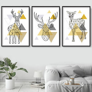 SET of 3 yellow GEOMETRIC Poly LINE STAG Deer Doe Wall Art Prints ONLY Poster