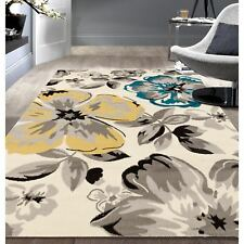Throw Rug Floral Contemporary Living Room Dining Big Large Area Floor Mat 7x9