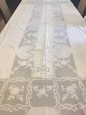 Rare Antique Victorian/ Edwardian Hand Made Embroidered Linen + Lace Tablecloth