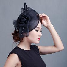 Derby Sinamay Flower Rose Fascinator Hat Cocktail Headband Clip Wedding Party