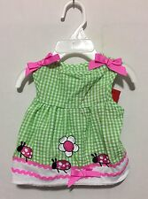 Sassy Rascal Gingham Green, Pink & White with Flowers & LadyBugs Dress Small
