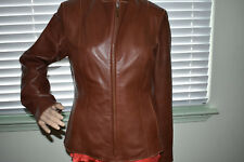 Ladie's COLE HAAN Brown Leather Jacket  Business Dress Casual 8