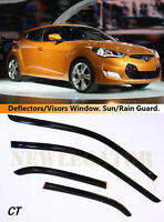 For Hyundai Veloster 2011-2017 Windows Visors Deflector Sun Rain Guard Vent