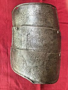 Antique decorated engraved Royal Guard medieval parade armor tasset for cuirass