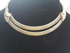 "Vintage CORO link choker necklace 16"" long Double strand section with adornment"