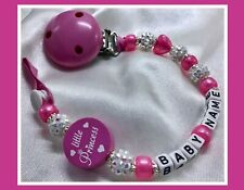 ♕ Personalised DUMMY CLIP Max 10 letters ♕LITTLE PRINCESS♕ CANDY PINK/Sparkle ♕