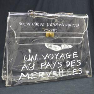 HERMES Vinyl Kelly Beach Hand Bag Purse SOUVENIR DE L'EXPOSITION 1997 AK38426i