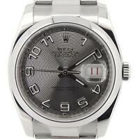 Rolex Stainless Steel Datejust Watch Oyster Silver Concentric New Style 116200